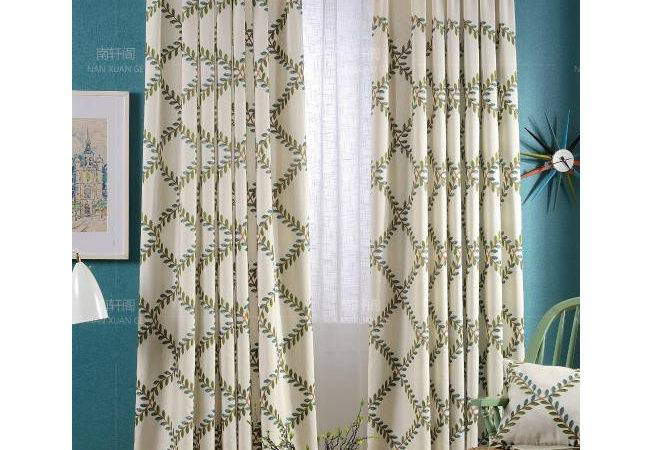 White Leaf Embroidery Linen Cotton Country Long Curtains