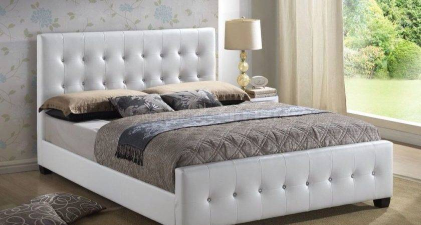White Modern Headboard Tufted Design Leather