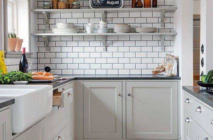 White Subway Tiles Black Grout Nordic Kitchen