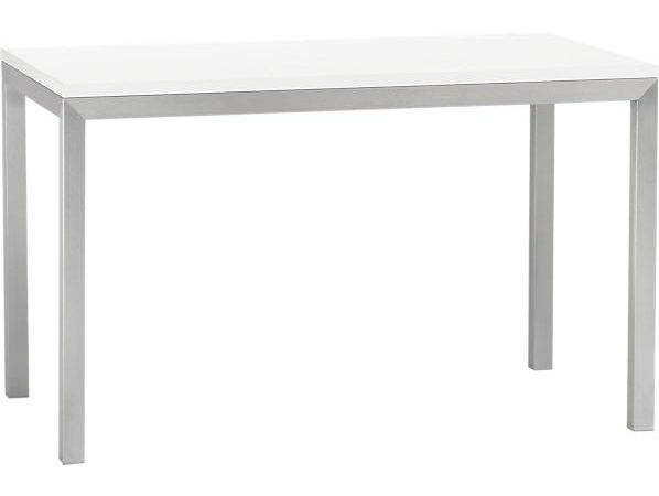 White Top Stainless Steel Base Parsons Dining Table
