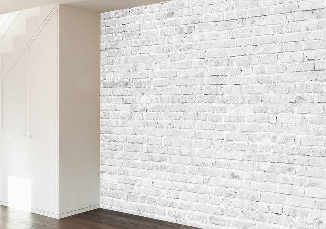 White Washed Brick Wall Mural Decal Contemporary