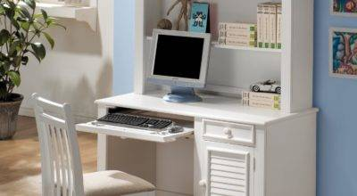 White Wooden Desk Shelves Also Drawers Combined