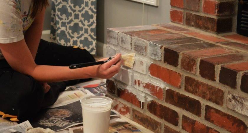 Whitewash Brick Our Fireplace Makeover Loving Here