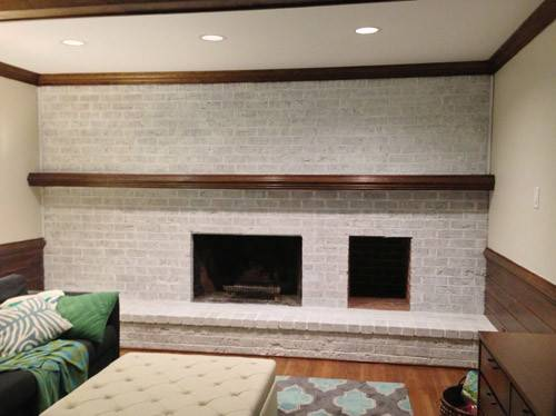Whitewash Brick Wall Fireplace Young House Love
