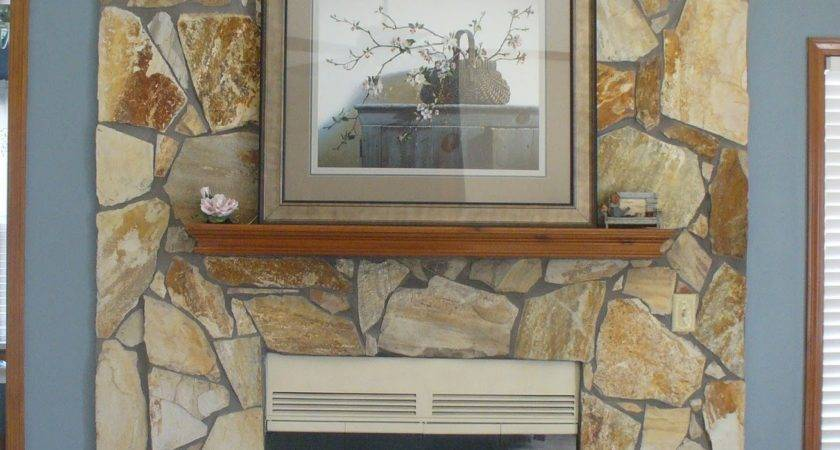 Whitewash Stone Fireplace