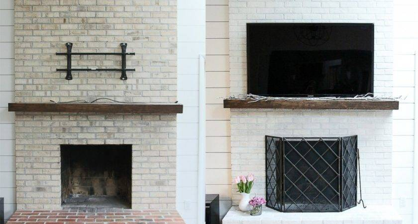 Whitewash Your Brick Fireplace Milk Paint
