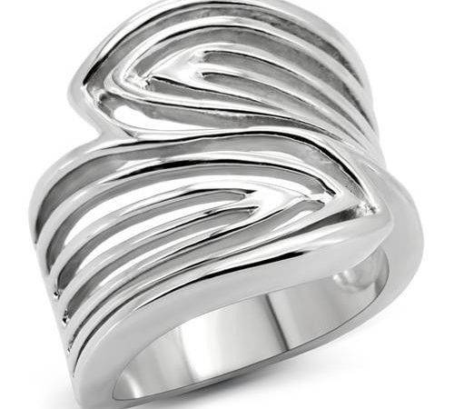 Wide Top Leaf Wrap Silver Stainless Steel Ladies Ring