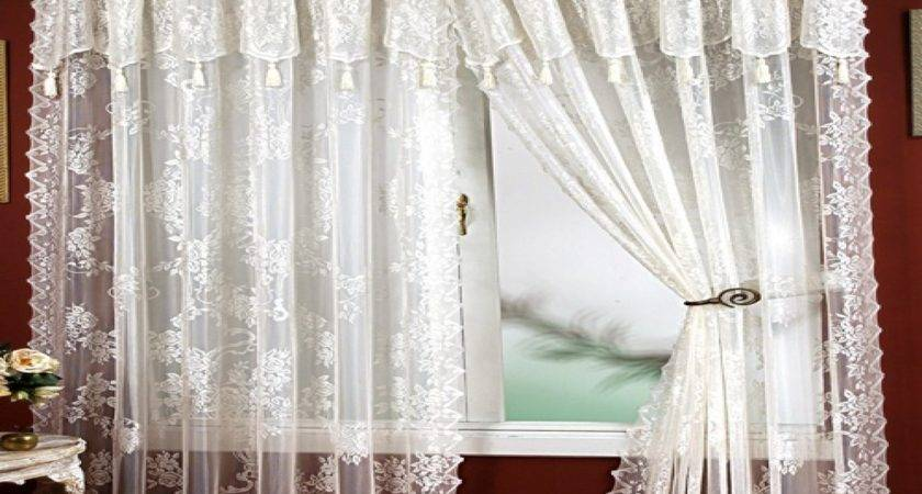 Window Curtains Design Lace Panel Attached