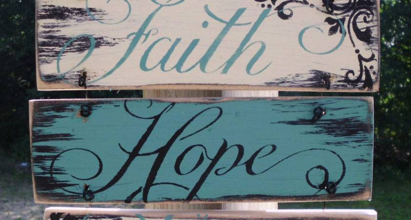 Wire Hung Faith Hope Love Sign Rustic