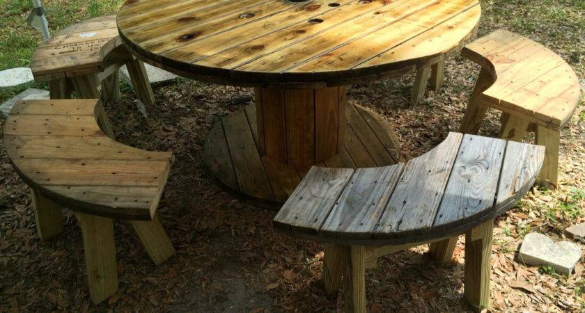 Wire Spool Table Benches