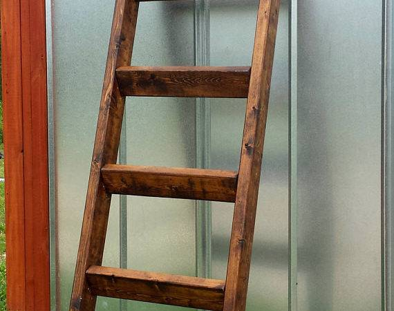 Wood Blanket Ladder Rack Quilt Handmade