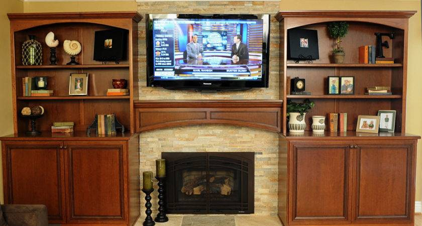 Wood Connection Cherry Bookcases Fireplace Mantel
