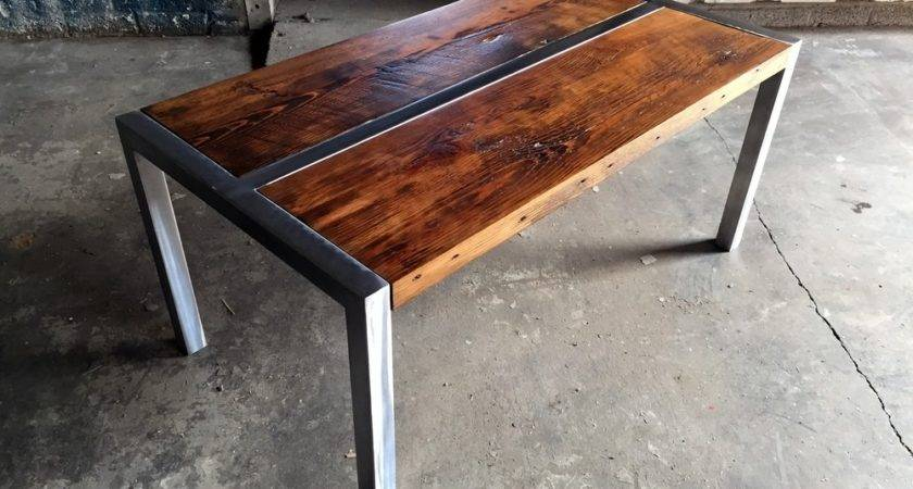 Wood Metal Coffee Table Simple Thelightlaughed