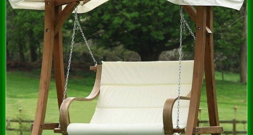 Wood Porch Swing Canopy Design Idea Home Landscaping
