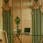 Wooden Blinds Curtains Together