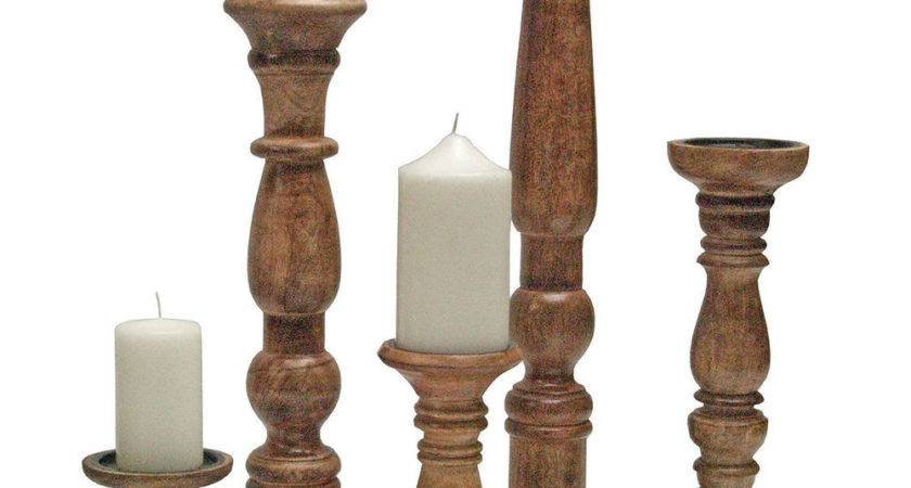 Wooden Carved Church Pillar Candle Holder Rustic Brown