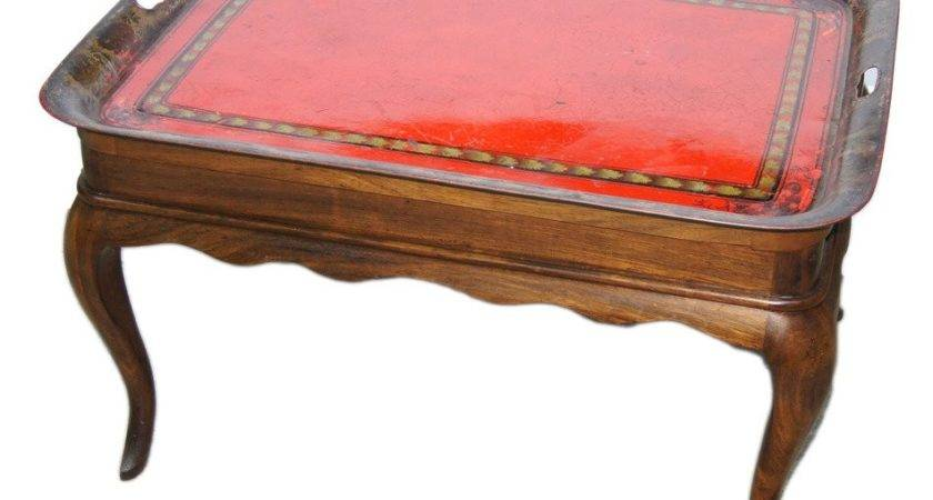 Wooden Coffee Table Tole Tray Sale Stdibs