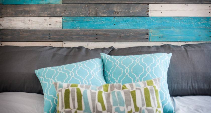 Wooden Headboard Turquoise Accents