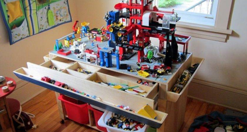 Wooden Lego Tables Storage Colour Story Design