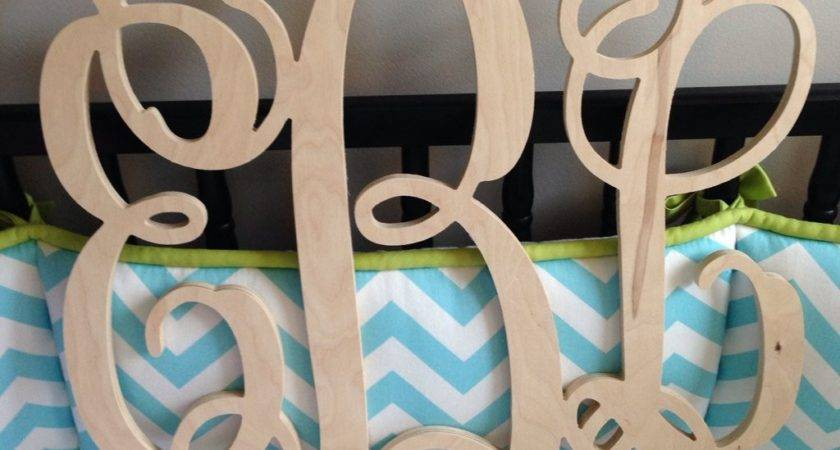 Wooden Monogram Wall Hanging Letters Unpainted Wood