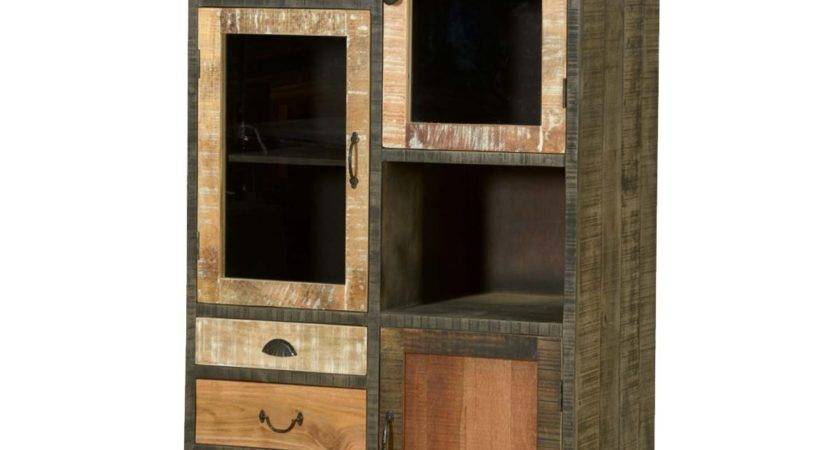Wooden Patches Mango Wood Iron Media Wall Unit Cabinet