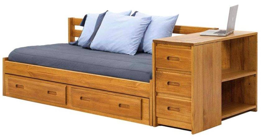 Wooden Storage Daybed Under Bed Drawers Honey Finish