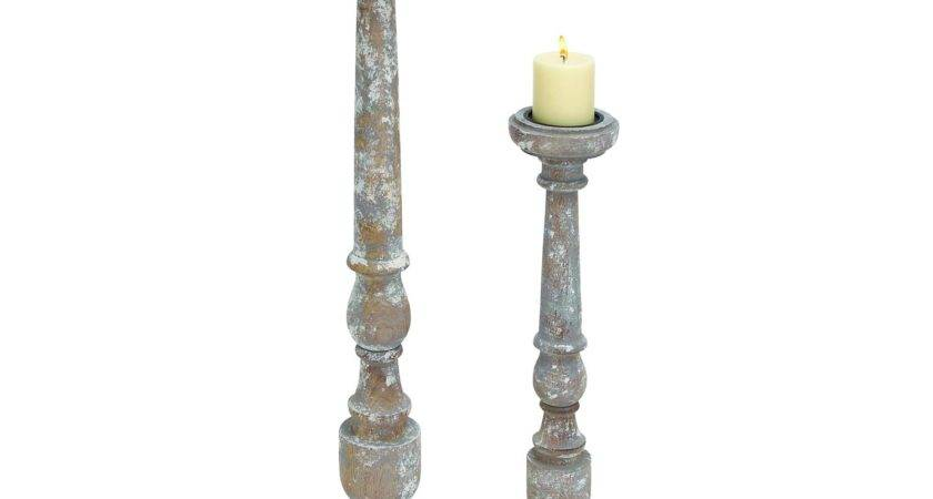 Woodland Imports Rustic County Wood Candle Holder