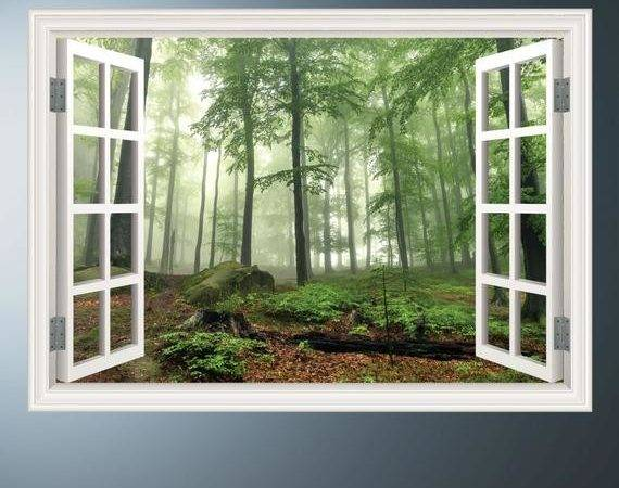 Woods Trees Window Frame Wall Art Sticker Decal Transfer Mural