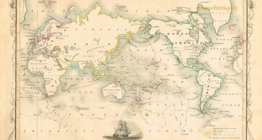World Mercator Projection Shewing Voyages