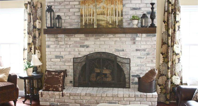 Yellow Cape Cod White Washed Brick Fireplace Tutorial