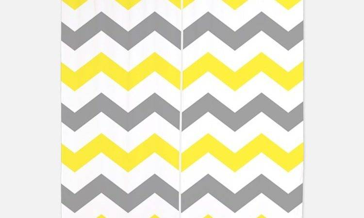Yellow Chevron Window Curtains Drapes