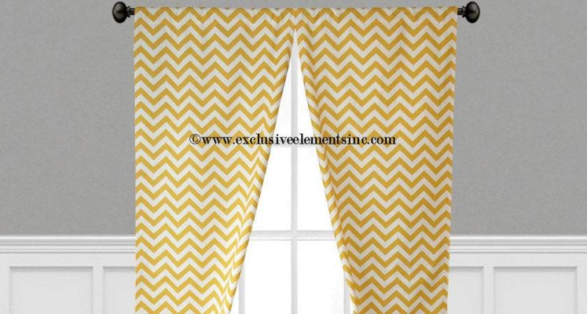 Yellow Curtains Zig Zag Chevron Curtain Panels Living Room