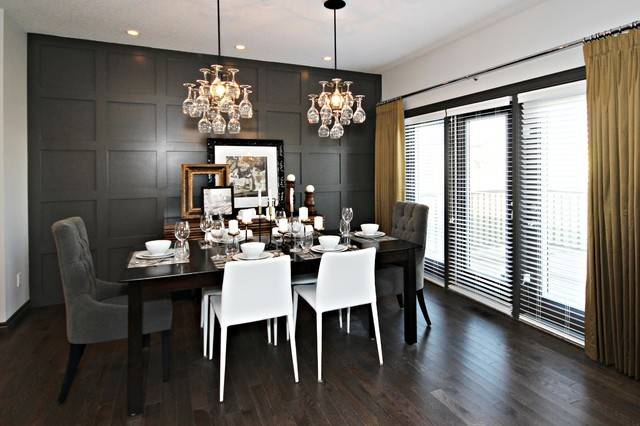 Yellow Gray Dining Room Contemporary