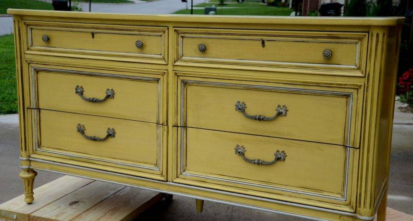 Yellow Painted Dresser Perch