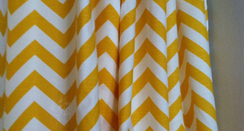 Yellow White Chevron Shower Curtain Positivelybiased