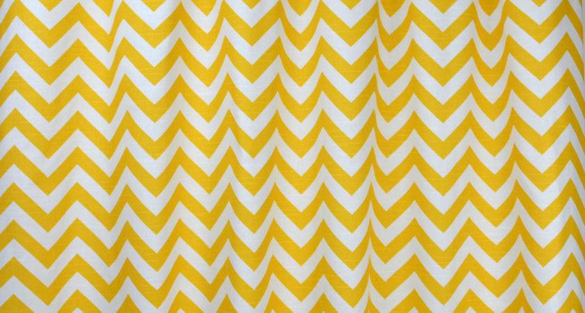 Yellow White Chevron Zig Zag Curtains Rod Pocket