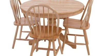 York Round Oak Dining Table Four Chairs